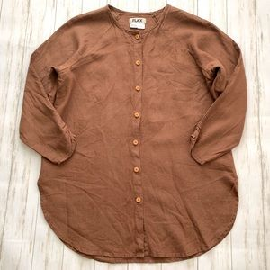FLAX Brown Linen Button Down Ruched Sleeve Tunic